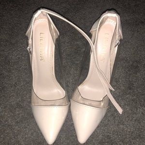 Cream and Clear stilleto strap heels